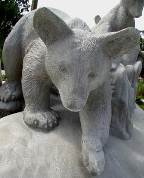 Close up view of Bear Sculpture